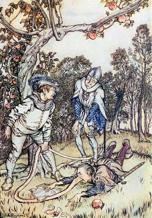 The Nose-Tree by the Brothers Grimm. Illustrated by Arthur Rackham (1867-1939)