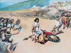 So David prevailed over the Philistine with a sling and with a stone, and smote the Philistine, and slew him; but there was no sword in the hand of David. Bible. Illustrated by Klavdy Lebedev (1852-1916)
