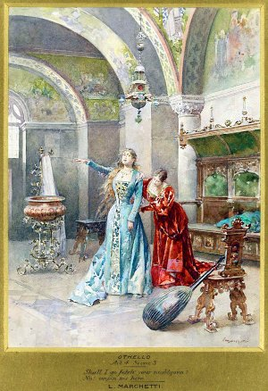 EMILIA: Shall I go fetch your night-gown? DESDEMONA: No, unpin me here. The Tragedy of Othello, the Moor of Venice by William Shakespeare (1564-1616). Illustrated by Ludovico Marchetti (1853-1909)